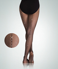 Black Fishet Tight with Rhinestone Seam