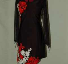 Black Latin with Red/White Rose Lace