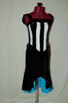 Black/White Stripe with Turquoise Skirt