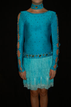 Turquoise Fringe Latin Dress
