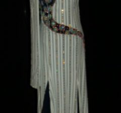 White and Blue Pinstripe Latin