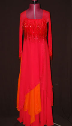 Red/Orange Beaded Fringe Ballroom Dress