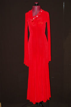 Red Smooth Dress/Stoned Collar