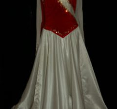 White and Red Velvet Ballroom Dress