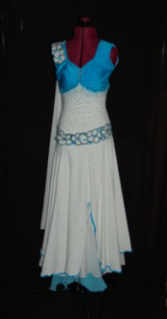 White and Turquoise Smooth Dress