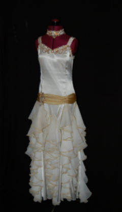 White and Gold Ballroom Dress