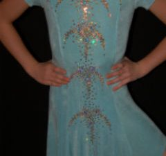 Light Blue Latin Dress/Rhinestones